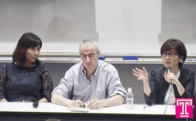 Image of Akiko Imai and Yumiko Murakami seated with Robert Dujarric
